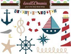 11 Precut Peel & Stick Vinyl Nautical Kids Room by decalCOmania100, $19.95
