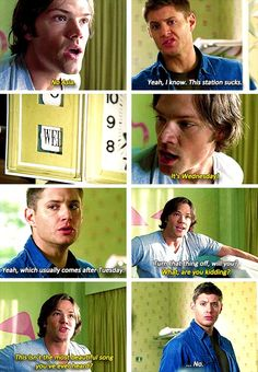 Haha dean looks so offended that Sam said its the most beautiful song