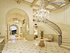 Breathtaking Home Entrance in Scottsdale, AZ #luxury #homes #house #decor #interior #design #white #stairs #staircase