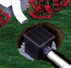 For backyard lower downspout? Ideal for yard / area drains to collect surface water while minimizing the amount of debris entering the system. Kits includes: NDS Two Hole Catch Basin NDS Black Plastic Grate NDS Pl Backyard Projects, Outdoor Projects, Backyard Ideas, Landscape Drainage, Drainage Solutions, Drainage Ideas, Drainage Ditch, Casas Containers, Diy Terrasse