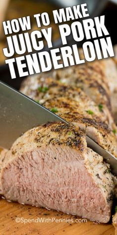 This juicy Pork Tenderloin recipe is so easy to prepare and the result is incredibly tender. A delicious main dish alongside is fast enough to make on a busy weeknight and elegant enough to serve to guests at a dinner party! for dinner for two main dishes Juicy Pork Tenderloin Recipe, Pork Loin, Roasted Pork Tenderloins, How To Cook Pork, Pork Chop Recipes, Rib Recipes, Filets, Pork Dishes, Pasta
