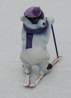 Ice  bear on Skis. Doesn't he look gorgeous with his sun glasses?  http://www.inside-munich.com/ice-skating.html