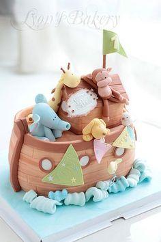 Noah's Ark Decorative Baby Shower Cake:
