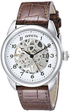 """Amazon.com: Invicta Men's 17187SYB """"Specialty"""" Stainless Steel Mechanical Hand-Wind Watch With Brown Leather Band: Watches    FATHER'S DAY, MAYBE?"""