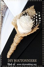Wedding Boutonniere with burlap / Feathers