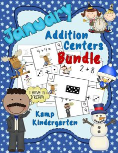Get enough addition math centers and activities for the entire month of January with this one money-saving resource. $   #Winter  #January  #MartinLutherKing  #NewYearsDay  #KampKindergarten   #Bundle  http://www.teacherspayteachers.com/Product/January-Addition-Centers-Bundle-Sums-of-0-to-10-1620032
