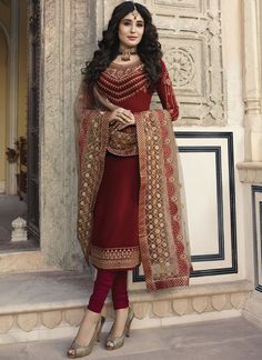We have the best designer style for salwar suits according to your needs. Shop georgette satin churidar designer suit for festival, party and wedding. Stylish Dress Designs, Stylish Dresses, Wedding Salwar Suits, Salwar Suits Online, Beautiful Suit, Maroon Dress, Kurti Designs Party Wear, Whatsapp Messenger, Maroon Color