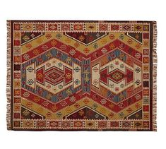 Gianna Recycled Yarn Kilim Indoor/Outdoor Rug | Pottery Barn | $59.00 - $799.00 | Woven on a hand loom, it recreates the soft feel and age-mellowed colors of an antique Turkish kilim using yarns made from recycled soda bottles | flat weave | fully reversible.