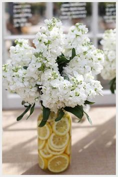 Wedding Ideas, Summer Vase Of Lemons And White Flowers: country chic wedding ideas