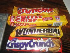 Canadian chocolate bars - These are only available in Canada, and I, for one, LOVE my Coffee Crisp :) however the Crunchie is originally British. Canadian Chocolate Bars, Canadian Candy, Hershey Chocolate Bar, Canadian Things, Canadian Food, Canadian Cuisine, Canadian Recipes, Canada Eh, Canada Humor