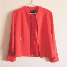 F21 Blazer Orange blazer with front zipper detail. Slight crop, sits just above hip. Great condition! Forever 21 Jackets & Coats Blazers