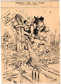 Priming the Old Pump - Hoover Political Cartoon during the Great Depression    USHistoryScene.com