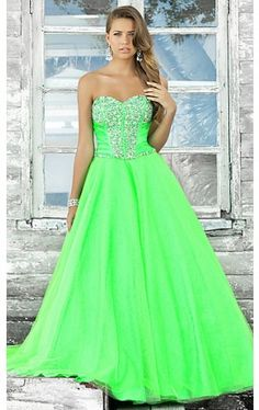 Strapless Green Ballgown by Blush BL-5102