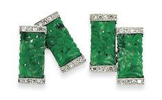 A PAIR OF ART DECO JADE AND DIAMOND CUFFLINKS Each rectangular panel composed of a pierced jade centre with carved floral detailing, to single-cut diamond line borders, with chain-link connections between, circa 1930, French marks for gold