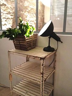 Vintage shelving and an industrial lamp. swoon. #industrial #lighting #vintage #antique #office #tasklight