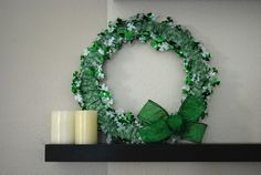 Post 4 in our Giveaway - St. Patrick's Day Wreath.  Visit our bowdabrablog.com to enter in our National Craft Month Many Uses of Ribbon Giveaway. Tutorial by @Katie Jasiewicz