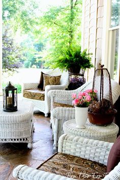 White wicker Outdoor Rooms, Outdoor Living, Outdoor Patios, Outdoor Kitchens, Southern Porches, Country Porches, Outdoor Wicker Furniture, Rattan Chairs, Savvy Southern Style