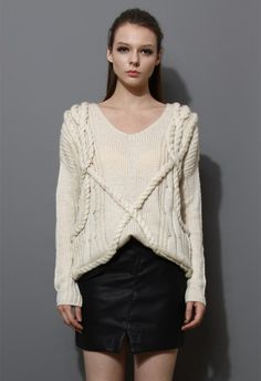 V-Neck Oversize Sweater in Ivory $59.90 http://www.chicwish.com/v-neck-oversize-sweater-in-ivory.html #Chicwish