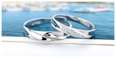 His and Hers Matching Wave Promise Rings for Couples in Sterling Silver CZ Diamond Accents