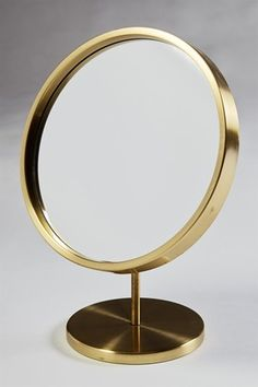 Anonymous; Brass and Glass Table Mirror, 1960s.