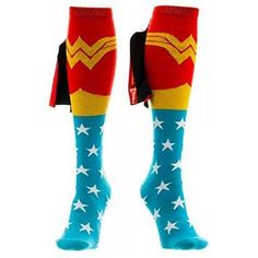 Race through your day in these superspeed-granting (not really, but we wish) DC Comics Wonder Woman Knee High Shiny Cape Socks. The red, white, blue, and gold socks feature a pattern of stars and jacquard-knit shield belt & WW crown. Capes For Women, Suits For Women, Logo Wonder Woman, Harley Quinn, Amazons Wonder Woman, Superman Dc Comics, All Star, Gold Socks, Women's Socks