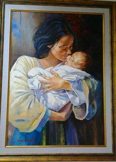 motherhood-impressionism painting-  original oil painting-1.10 meterX90 cm.framed.
