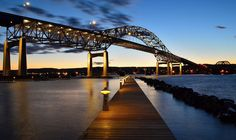 Other side of Duluth, MN - the view of the John A Blatnik Bridge from Conners Point Cove Marina in Superior.