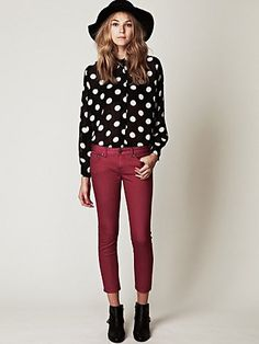 Free People Skinny and Dot Blouse