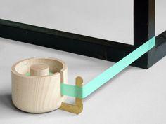 wood + brass tape dispenser