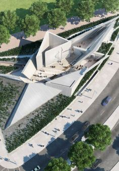 A design team featuring Daniel Libeskind and Edward Burtynsky has triumphed in a competition to design a National Holocaust Monument for Ottawa, Canada. Architecture Memorial, Architecture Design, Futuristic Architecture, Amazing Architecture, Landscape Architecture, Landscape Design, Chinese Architecture, Architecture Office, Triangular Architecture
