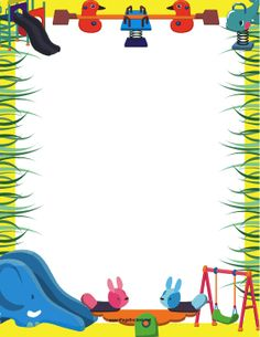 Seesaws, swings, and slides decorate this printable recess border for nursery school children. Free to download and print.