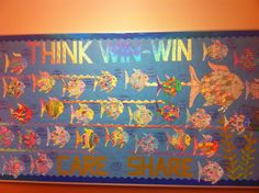 """This is our November/December Leader in Me bulletin board. We read the Rainbow Fish and discussed how it showed """"Think Win Win"""". Then they colored their own fish and we wrote what they could share with others on lamination bubbles."""