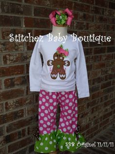 Sweet and Sassy Gingerbread Girls Personalized Christmas and Winter Ruffle Pant Outfit SET with shirt pants and M2M hairbow