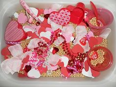 Valentine's Sensory Bin            I'm definitely doing this one with him this year!