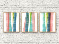 Abstract Art, Best Selling Item, Colorful Wall Art Prints, Triptych Wall Art Set of 3 Prints, Scandinavian Print, Geometric Art, Minimalist
