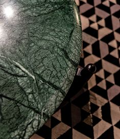 Detail Of Our Caffe Low Table In Choice Marbles Against The Hexhex Rug Black