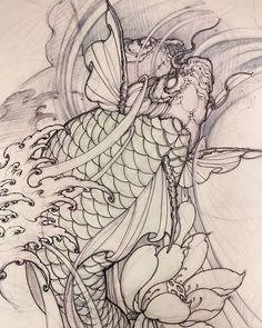 Koi sketch. #koi #illustration #sketch #tattoo #drawing #asiantattoo #asianink #irezumi #chronicink