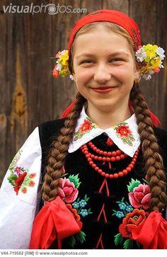 Regional costume from the village of Lipce Reymontowskie - Łowicz folk costume, Poland.