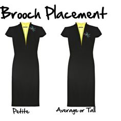 Where petite, average, and tall women should pin their brooches.