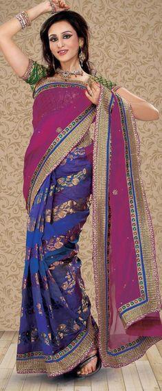 $85.94 Purple and Blue Stone Work Half Banarasi Silk Saree 22737