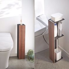 Organize the bathroom in a stylish way. Rin Bathroom Organizer #yamazakihome #bathroom #toilet #toiletpaper #toiletpaperholder #bathroomorganizer #toiletorganizer #stylish #stylishbathroom #modern #storageandorganization #interiordesign #wood #woodenitem