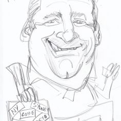 Caricature roughs from photos - the essential initial stage for any finished caricature from photo commission. The roughs are emailed to client for approval