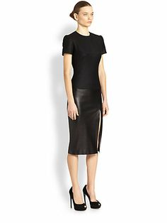 Alexander McQueen - Flannel & Leather Dress - Saks.com