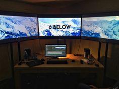 "6K edit bay for Barco Escape. 3 Sony 55"" 4K screens. #filmmaking #postproduction #indiefilm #editing"