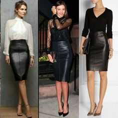 How to wear pencil skirts in a variety of occasions! Pencil Skirt Outfits, Pencil Skirts, Curvy Fashion, Fashion Looks, Black Leather Pencil Skirt, Modelos Fashion, Cocktail Outfit, Outfit Trends, Inspiration Mode