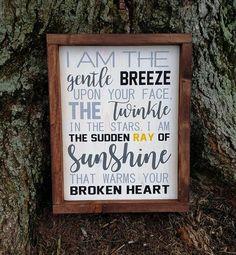 I Am The Gentle Breeze memorial / remembrance framed wood sign I Am The Gentle Breeze memorial / remembrance framed wood sign Memory Crafts, In Memory Gifts, Loss Of Loved One, Memorial Gifts, Memorial Ideas, Memorial Messages, Memorial Quotes, Funeral Memorial, Bereavement Gift