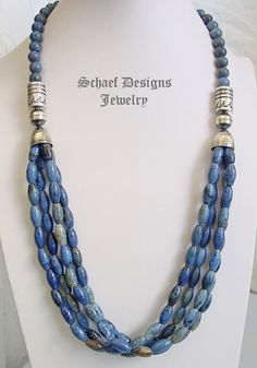 Schaef Designs dumortierite and sterling silver tube bead multi strand long necklace   Schaef Designs Southwestern Basics Collection   online upscale Southwestern, Equine, Native American, & Turquoise Jewelry gallery   Schaef Designs artisan handcrafted Jewelry   New Mexico
