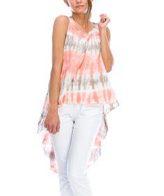 Love this Mono B Peach & Brown Tie-Dye Hi-Low Tank by Mono B on #zulily! #zulilyfinds