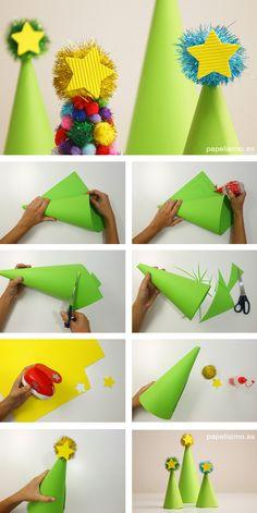 Como hacer Árbol de Navidad cartulina paper christmas tree paso a paso