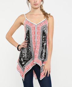 Look at this Navy & Red Scarf-Print Handkerchief Tank on #zulily today!